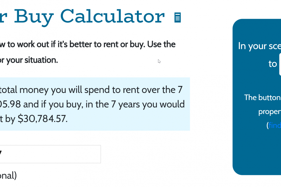 Screenshot of rent vs buy calculator